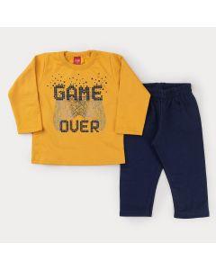 Conjunto de Frio para Menino Casaco Amarelo Game e Calça Azul Marinho Moletom