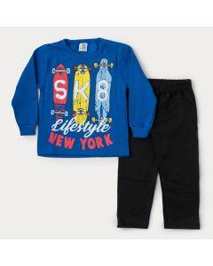 Conjunto de Moletom Infantil Masculino Casaco Azul Skate e Calça Preta