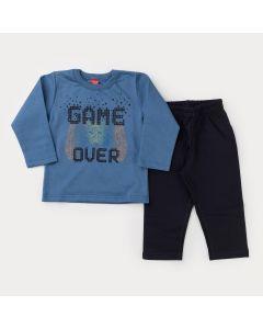 Conjunto de Moletom para Menino Casaco Azul Game e Calça Preta