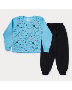 Conjunto de Moletom Infantil Masculino Casaco Azul Estampado Calça Preta