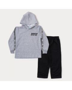 Conjunto de Moletom Infantil Masculino Casaco Cinza com Capuz e Calça Preta