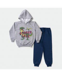 Conjunto de Frio para Menino Casaco Cinza Dino com Capuz e Calça de Moletom Marinho