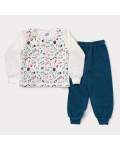 Conjunto de Moletom Infantil Masculino Casaco Marfim Estampado Calça Verde