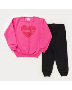 Conjunto de Inverno para Menina Casaco Rosa Coração e Calça Preta Básica