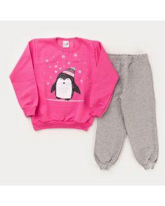 Conjunto de Frio para Menina Casaco Rosa Pinguim e Calça Cinza Básica