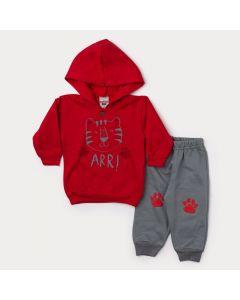 Conjunto de Inverno Bebê Menino Casaco Vermelho Tigre e Calça Cinza
