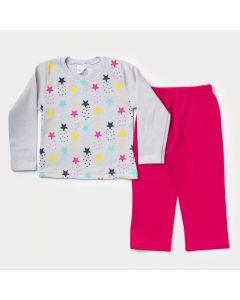 Conjunto de Moletom Infantil Feminino Casaco Cinza Estrelas Calça Pink