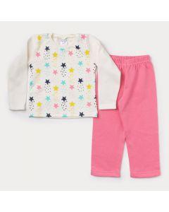 Conjunto de Moletom Infantil Feminino Casaco Marfim Estrelas Calça Rosa