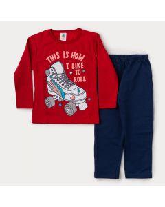 Conjunto de Moletom Infantil Feminino Casaco Vermelho Estampado e Calça Marinho