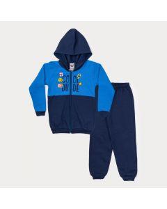 Conjunto Infantil Masculino de Inverno Jaqueta Azul Estampada e Calça Marinho