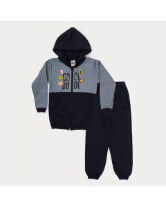 Conjunto Infantil Masculino de Inverno Jaqueta Cinza Estampada e Calça Preta