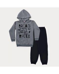 Conjunto Infantil Masculino de Inverno Casaco Cinza Estampado e Calça Preta