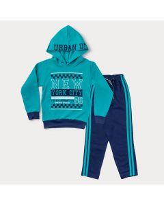 Conjunto de Moletom Infantil Masculino Casaco com Capuz Verde e Calça Marinho
