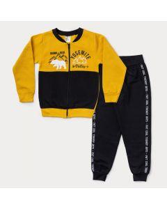 Conjunto de Moletom Infantil Masculino Jaqueta Amarela Bomber e Calça Preta