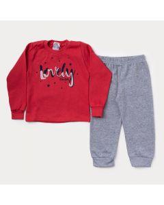 Conjunto de Moletom Infantil Feminino Casaco Vermelho Estampado Calça Cinza