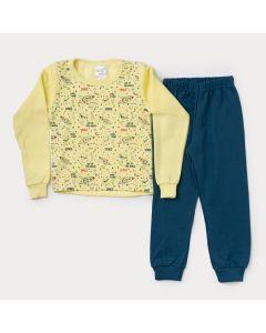 Conjunto de Moletom Infantil Masculino Casaco Amarelo Espaço Calça Verde