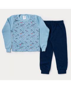 Conjunto de Moletom Infantil Masculino Casaco Azul Espaço e Calça Marinho