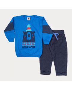 Conjunto Infantil de Inverno para Menino Blusa Azul Urso e Calça Marinho
