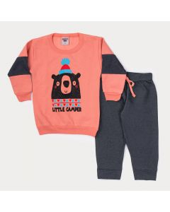 Conjunto Infantil de Inverno para Menino Blusa Laranja Urso e Calça Preta