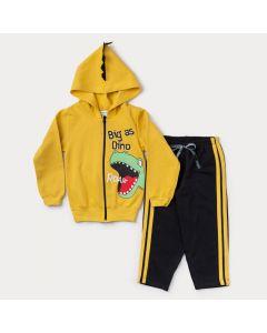 Conjunto de Moletom para Menino Jaqueta Amarela com Capuz Dinossauro e Calça Preta