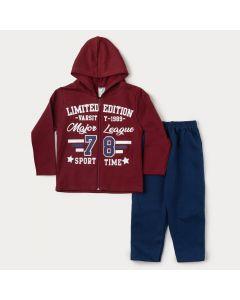 Conjunto de Moletom Infantil Masculino Jaqueta Vermelha com Capuz e Calça Marinho