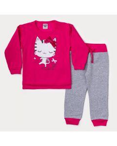 Conjunto de Inverno Infantil Feminino Blusa Pink Gatinho e Calça Mescla