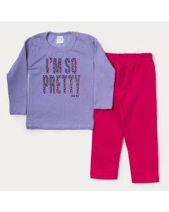 Conjunto de Moletom Infantil Feminino Casaco Lilás Estampado Calça Pink