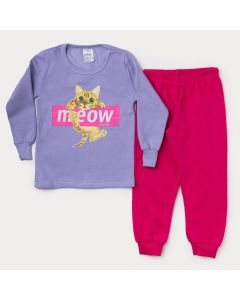 Conjunto de Moletom Infantil Feminino Casaco Lilás Gatinho Calça Pink