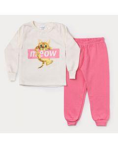 Conjunto de Moletom Infantil Feminino Casaco Marfim Gatinho Calça Rosa