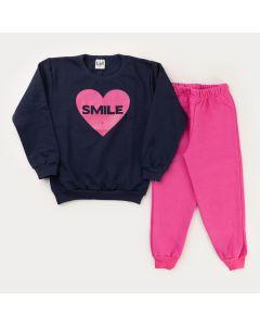 Conjunto de Frio para Menina Casaco Marinho Coração e Calça Rosa Básica