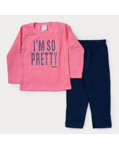 Conjunto de Moletom Infantil Feminino Casaco Rosa Estampado Calça Marinho