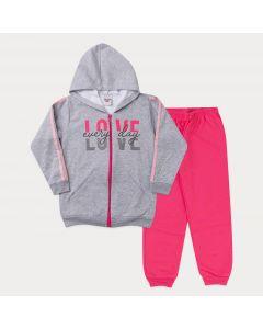 Conjunto de Moletom Infantil Feminino Jaqueta Cinza Estampada e Calça Pink