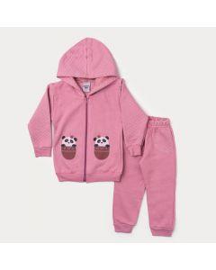 Conjunto de Moletom Rosa Infantil Feminino Jaqueta Panda e Calça