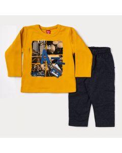 Conjunto de Moletom Infantil Masculino Blusa Amarela Estampada e Calça Cinza