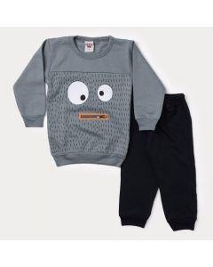 Conjunto Infantil de Frio Masculino Blusa Cinza Monstrinhos e Calça Preta