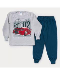Conjunto de Moletom Infantil Masculino Casaco Cinza Carro Calça Verde