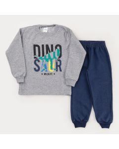 Conjunto de Frio para Menino Calça Marinho e Casaco Cinza em Moletom Dinossauro