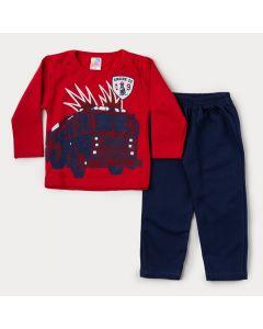 Conjunto de Moletom para Menino Casaco Vermelho Bombeiro e Calça de Marinho