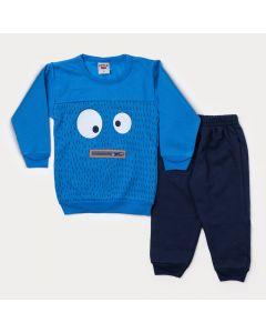 Conjunto de Frio Infantil Masculino Blusa Azul Monstrinhos e Calça Marinho