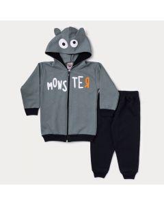 Conjunto de Inverno Infantil Masculino Jaqueta Cinza Estampada e Calça Preta