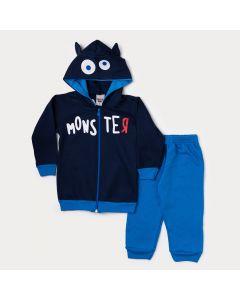 Conjunto de Inverno Infantil Masculino Jaqueta Marinho Estampada e Calça Azul