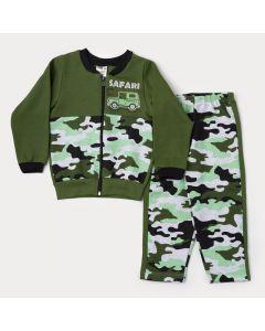 Conjunto de Moletom Menino Jaqueta Verde Safári e Calça Militar