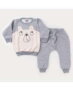 Conjunto de Moletom para Bebê Menino Casaco Ursinho Peluciado e Calça Cinza