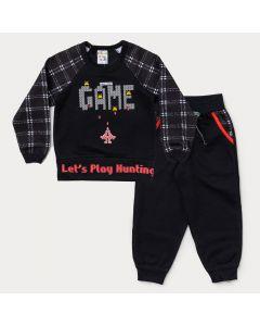 Conjunto de Moletom para Menino Blusa Preta Game e Calça Preta com Bolso