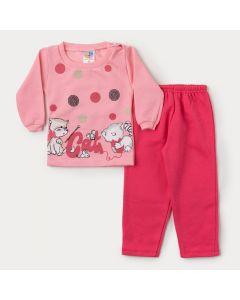 Conjunto Rosa de Inverno Bebê Menina Casaco com Estampa Gatinho e Calça