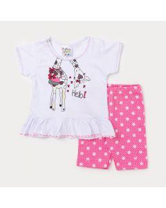 Conjunto para Bebê Feminino Blusa Branca com Estampa de Girafa e Legging Rosa