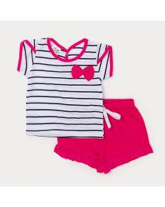 Conjunto para Bebê Menina Blusa Branca com Listras Pretas e Short Rosa