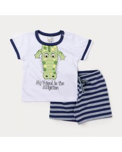 Conjunto para Bebê Menino Camiseta Branca Jacaré e Bermuda Listrada