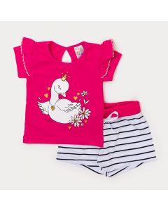 Conjunto para Menina Blusa Pink com Estampa de Cisne e Short Listrado