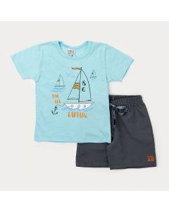 Conjunto para Menino Camiseta Azul Navio e Bermuda Cinza